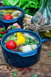summer soup with fresh vegetablesの写真素材 [FYI00745551]