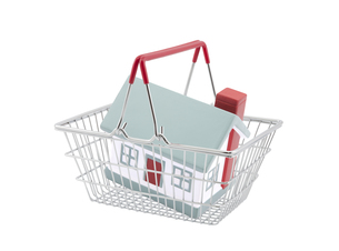 Shopping basket with house miniature isolated on white backgroundの写真素材 [FYI00745589]