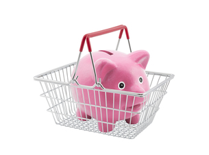 Shopping basket with piggy bank on white backgroundの写真素材 [FYI00745592]