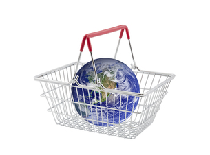 Supermarket basket containing globe isolated on white. Earth image provided by Nasa.の写真素材 [FYI00745599]