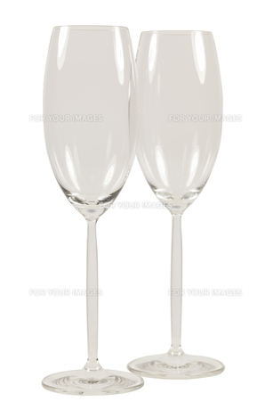 two empty champagne glasses with long stemsの写真素材 [FYI00745829]