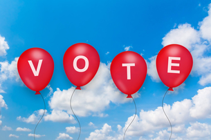 vote text on balloonの写真素材 [FYI00745861]