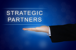 strategic partner button on blue backgroundの写真素材 [FYI00745864]