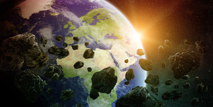 Meteorite impact on planet Earth in spaceの写真素材 [FYI00745957]