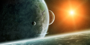 Meteorite impact on planet Earth in spaceの写真素材 [FYI00745960]