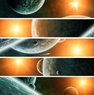 Sunrise over planet Earth in spaceの写真素材 [FYI00745988]