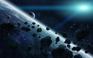 Meteorite impact on planet Earth in spaceの写真素材 [FYI00746001]