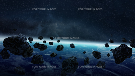 Meteorite impact on planet Earth in spaceの写真素材 [FYI00746002]