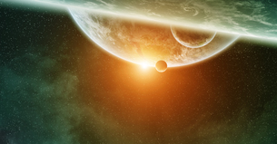 Meteorite impact on planet Earth in spaceの写真素材 [FYI00746003]