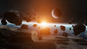 Meteorite impact on planet Earth in spaceの写真素材 [FYI00746007]