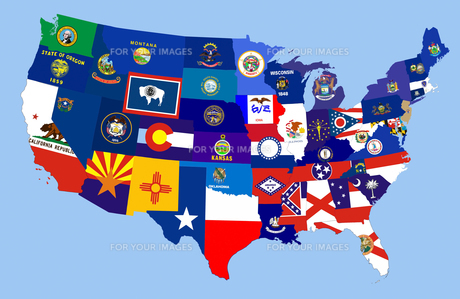 usa states flag mapの写真素材 [FYI00746089]