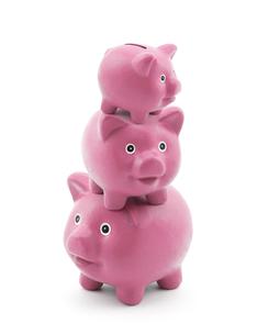 Stack of pink piggy banksの写真素材 [FYI00746122]