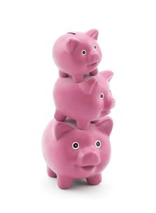 Stack of pink piggy banksの写真素材 [FYI00746127]
