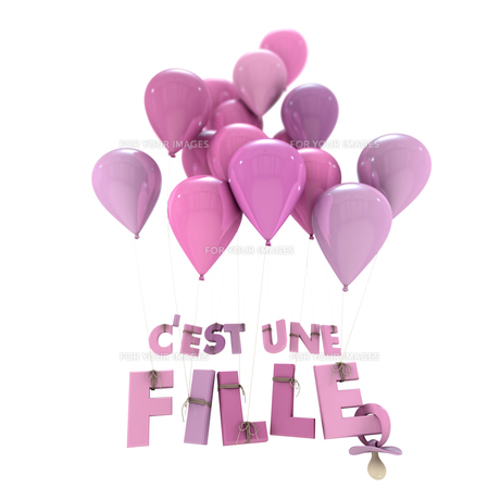 French baby girl birth announcementの写真素材 [FYI00747321]