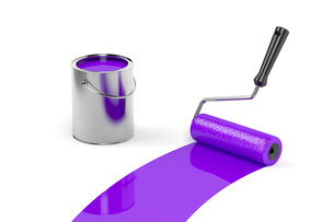 Painting with purple paintの写真素材 [FYI00747736]