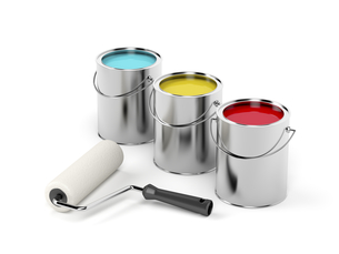 Paint roller and paint canistersの写真素材 [FYI00747743]