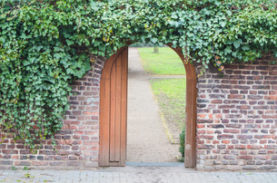 entry gate in a wallの写真素材 [FYI00748427]