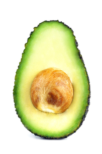 halved avocado with white backgroundの写真素材 [FYI00749218]
