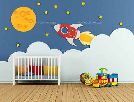 Baby room with cradleの写真素材 [FYI00749420]