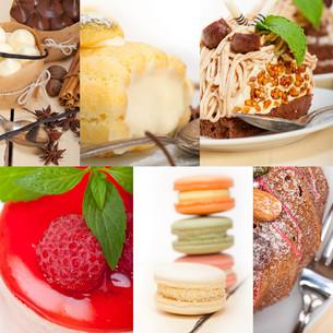 fresh dessert cake collageの写真素材 [FYI00749525]