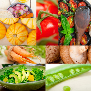 hearthy vegetables collage compositionの写真素材 [FYI00749527]