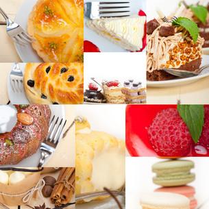 fresh dessert cake collageの写真素材 [FYI00749528]