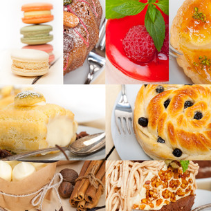 fresh dessert cake collageの写真素材 [FYI00749529]