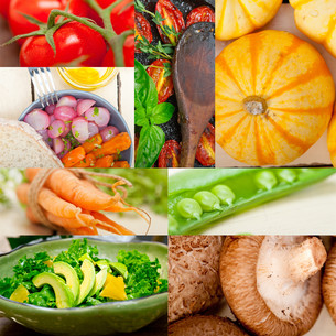 hearthy vegetables collage compositionの写真素材 [FYI00749530]