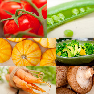 hearthy vegetables collage compositionの写真素材 [FYI00749531]
