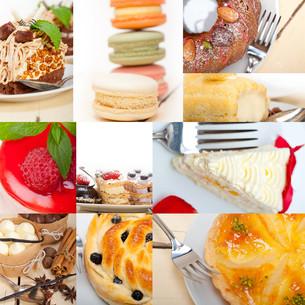 fresh dessert cake collageの写真素材 [FYI00749532]