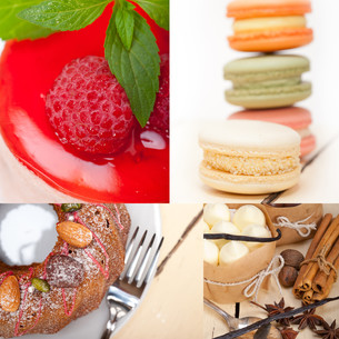 fresh dessert cake collageの写真素材 [FYI00749533]