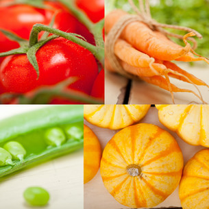 hearthy vegetables collage compositionの写真素材 [FYI00749534]
