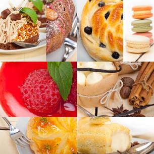 fresh dessert cake collageの写真素材 [FYI00749535]