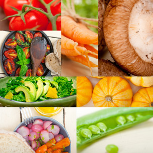 hearthy vegetables collage compositionの写真素材 [FYI00749536]