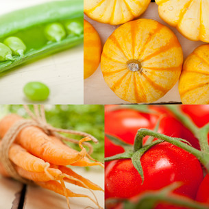 hearthy vegetables collage compositionの写真素材 [FYI00749537]