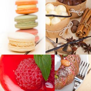 fresh dessert cake collageの写真素材 [FYI00749539]