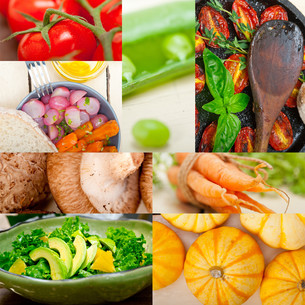 hearthy vegetables collage compositionの写真素材 [FYI00749540]