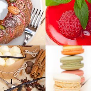 fresh dessert cake collageの写真素材 [FYI00749544]