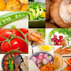 hearthy vegetables collage compositionの写真素材 [FYI00749545]