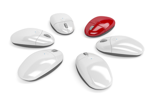 Red computer mouseの素材 [FYI00749719]