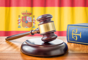 gavel and law book - spainの写真素材 [FYI00750639]