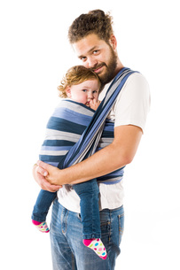 father with baby carrierの写真素材 [FYI00750702]