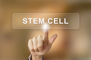 business hand clicking stem cell button on blurred backgroundの写真素材 [FYI00751164]