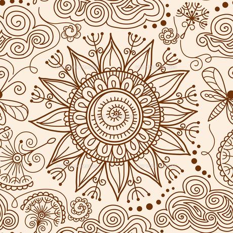 vector seamless Henna mehndi doodle patternの素材 [FYI00751937]