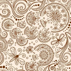 vector seamless Henna mehndi doodle patternの写真素材 [FYI00751942]