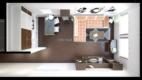 3D interior rendering of a small loft with texturesの写真素材 [FYI00752527]
