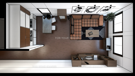 3D interior rendering of a small loft with texturesの写真素材 [FYI00752529]