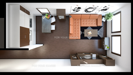 3D interior rendering of a small loft with texturesの写真素材 [FYI00752533]