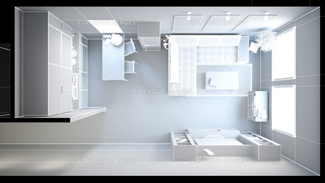 3D interior rendering of a small loft without texturesの写真素材 [FYI00752538]