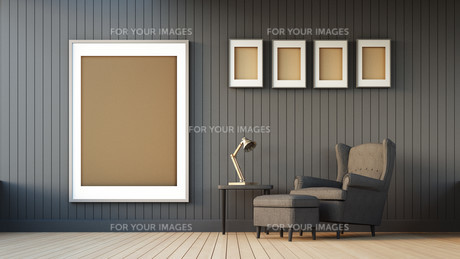 Gray armchair and frameの写真素材 [FYI00752561]